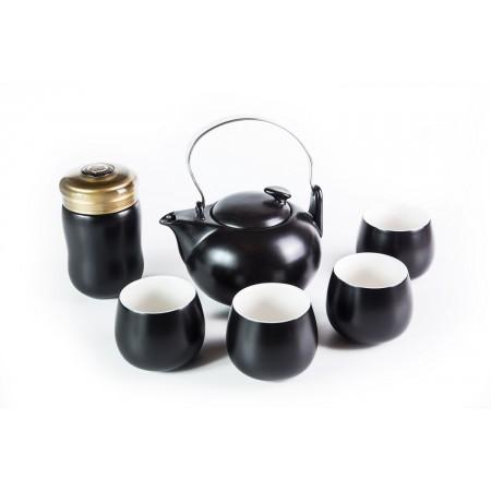 Сервиз фарфоровый, черный, 6 предметов (4 чашки, чайник и чайница с ситом)